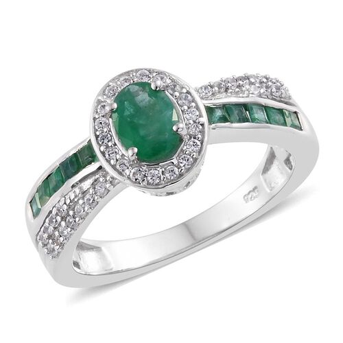 Kagem Zambian Emerald (Ovl), Natural Cambodian Zircon Ring in Platinum Overlay Sterling Silver 1.400 Ct.