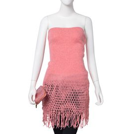 Silver Thread Knitted Pink Colour Scarf (Size 170x20 Cm) and Ladies Wallet