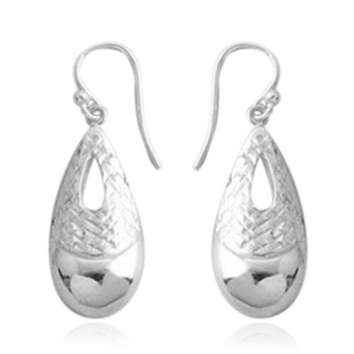 Designer Inspired-Sterling Silver Teardrop Hook Earrings, Silver wt 3.06 Gms.