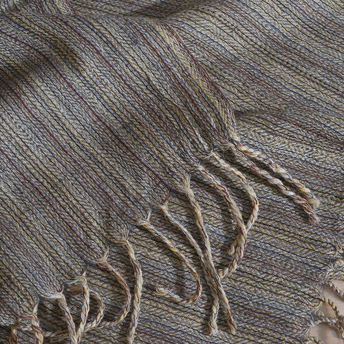 100% Merino Wool Chocolate and Multi Colour Stripes Pattern Scarf with Tassels (Size 210X95 Cm)