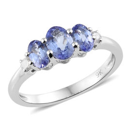 9K White Gold 1 Carat AA Tanzanite and Diamond Ring