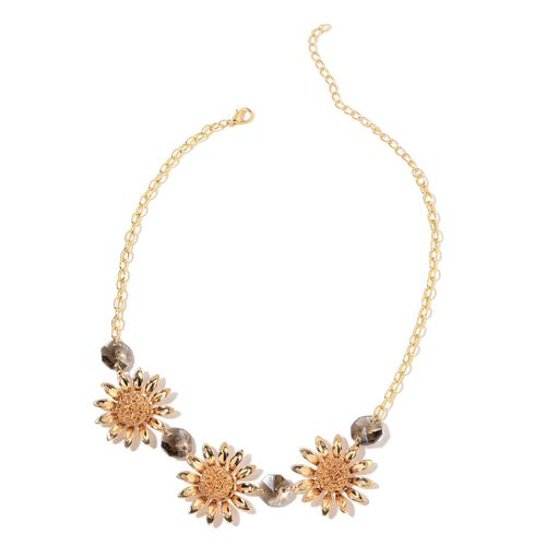 Simulated Grey Diamond Sunflower BIB Necklace (Size 20 with 2 inch Extender) in Yellow Gold Tone
