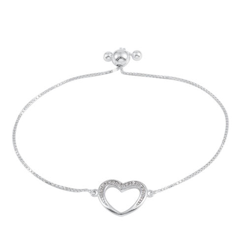 JCK Vegas Collection AAA Simulated Diamond (Rnd) Adjustable Heart Bracelet (Size 9) in Rhodium Plated Sterling Silver