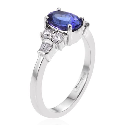 RHAPSODY 950 Platinum 2 Carat AAAA Tanzanite Oval, Diamond VS E-F Ring.
