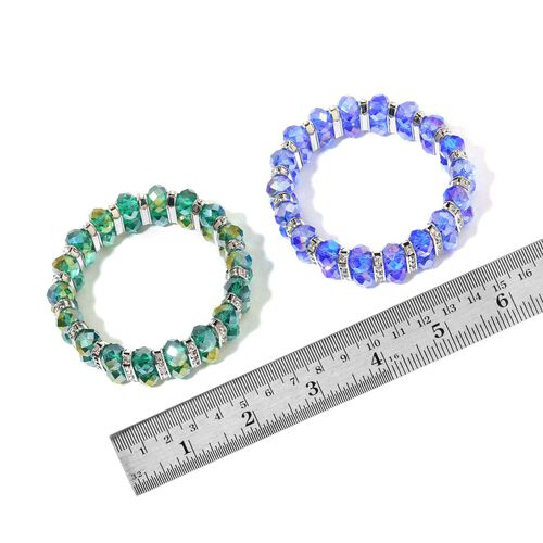 Set of 2 - Simulated Blue and Green Diamond and White Austrian Crystal Stretchable Bracelet (Size 7.5) in Silver Tone