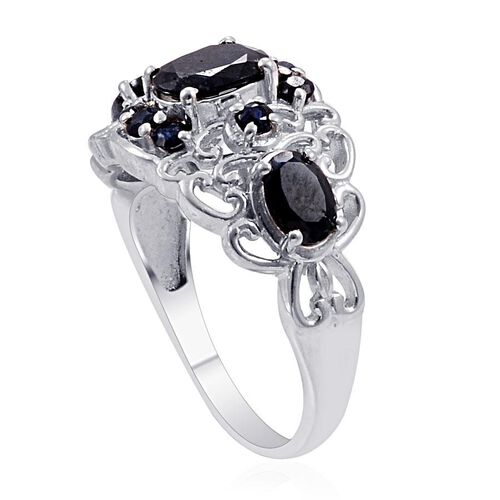 Kanchanaburi Blue Sapphire (Ovl 1.50 Ct) Ring in Platinum Overlay Sterling Silver 3.180 Ct.