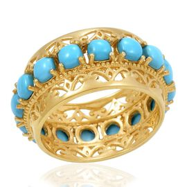 Designer Collection Arizona Sleeping Beauty Turquoise (Cush) Ring in 14K Gold Overlay Sterling Silver 5.000 Ct.