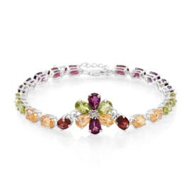 Multi GemStones (Ovl), White Topaz Floral Bracelet (Size 7 with 1 inch Extender) in Rhodium Plated Sterling Silver 13.500 Ct.