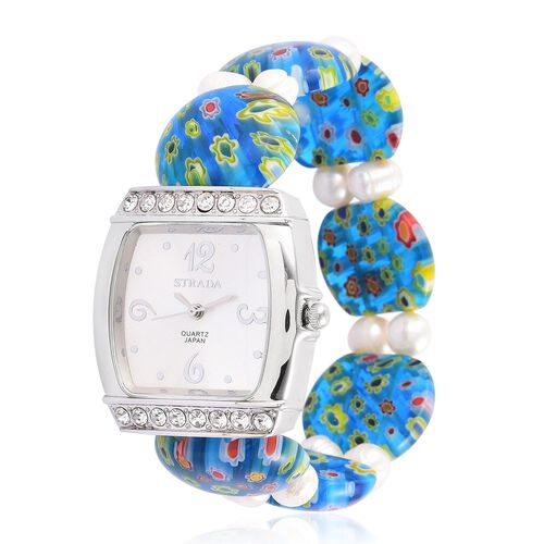 STRADA Japanese Movement White Sunshine Dial with White Austrian Crystal Water Resistant Watch in Silver Tone with Blue Murano Glass and Fresh Water White Pearl Strap