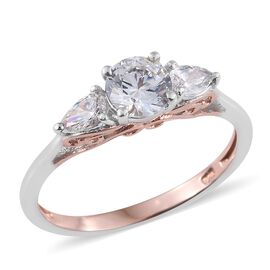 J Francis - Platinum and Rose Gold Overlay Sterling Silver (Rnd) Ring Made with SWAROVSKI ZIRCONIA
