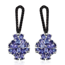 Designer Inspired-Tanzanite (Pear), Boi Ploi Black Spinel Earrings (with Push Back) in Platinum Overlay Sterling Silver 6.750 Ct.