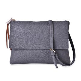 Dark Grey and Metallic Bronze Colour Clutch Bag with Adjustable and Removable Shoulder Strap (Size 26x20x4 Cm)