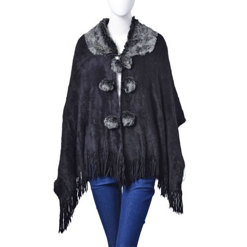 Winter Special - Black Colour Poncho with 6 Pom Pom and Faux Fur Collar (Size 160x55 Cm)
