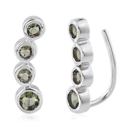 Bohemian Moldavite (Rnd) Climber Earrings in Platinum Overlay Sterling Silver 1.500 Ct.