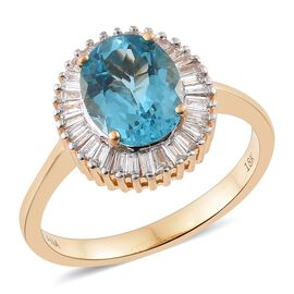 Collectors Edition- ILIANA 18K Y Gold AAA Paraiba Apatite (Ovl 2.50 Ct), Diamond (SI/G-H) Ring 3.000 Ct. Gold Wt. 4.81 Gms