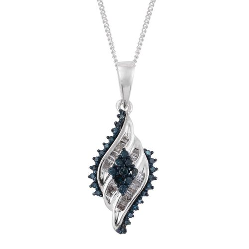 Blue Diamond (Rnd), White Diamond Cocktail Pendant with Chain in Platinum Overlay Sterling Silver 0.330 Ct.