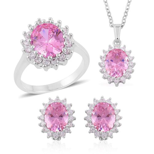 AAA Simulated Pink Sapphire and Simulated White Diamond Ring, Pendant With Chain (Size 22) and Stud Earrings (with Clasp) in Silver Tone