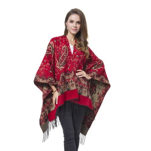 Designer Inspired-Red, Black and Khaki Colour Paisley Pattern Reversible Blanket Shawl with Tassels (Size 127X75 Cm)