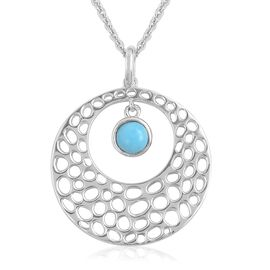 RACHEL GALLEY Arizona Sleeping Beauty Turquoise (Rnd) Circle of Life Pendant with Chain in Rhodium Plated Sterling Silver, Silver wt 12.79 Gms.