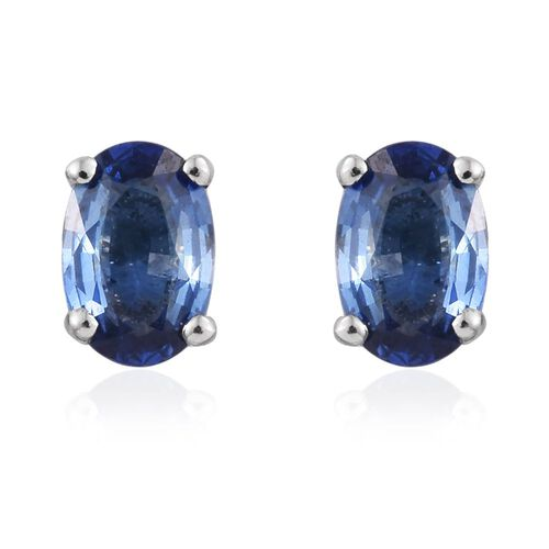 RHAPSODY 950 Platinum Rare AAAA Ceylon Blue Sapphire (Ovl) Stud Earrings (with Screw Back) 1.500 Ct.