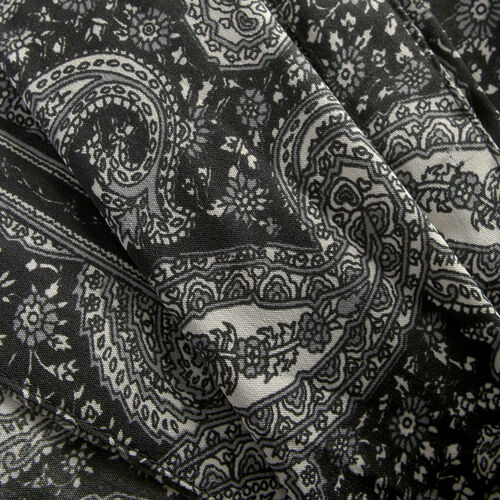 Black, Grey and White Colour Paisley Pattern Long Kaftan (Free Size)