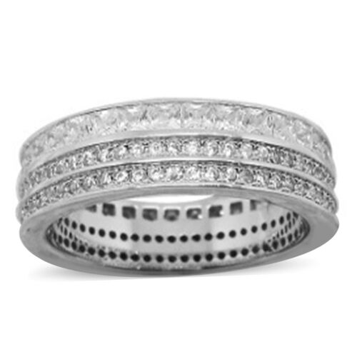 ELANZA AAA Simulated Diamond (Sqr) Band Ring in Rhodium Plated Sterling Silver