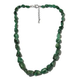 Brazilian Emerald Necklace (Size 18) in Platinum Overlay Sterling Silver 260.000 Ct.