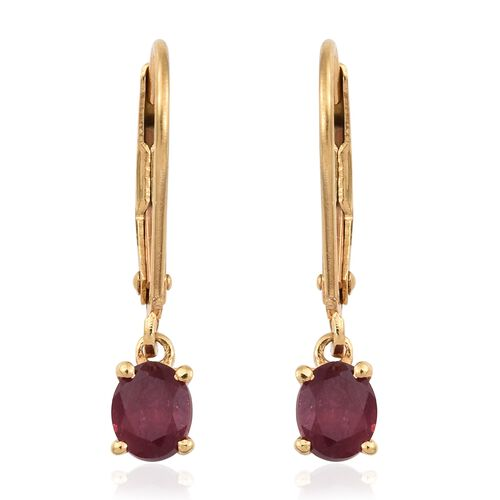 African Ruby (Ovl) Lever Back Earrings in 14K Gold Overlay Sterling Silver 1.000 Ct.