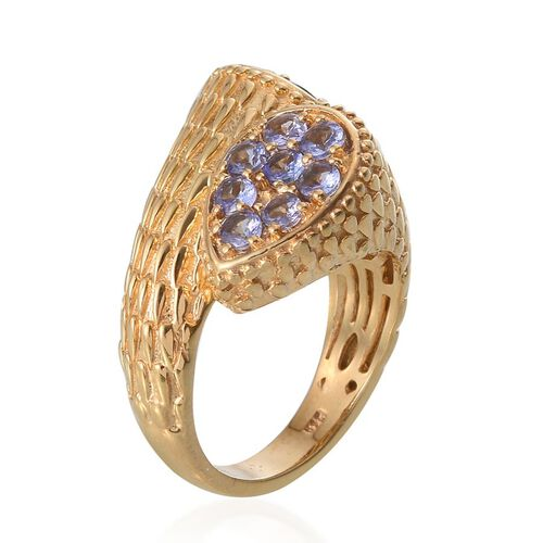 Tanzanite (Rnd) Crossover Ring in 14K Gold Overlay Sterling Silver 2.000 Ct.
