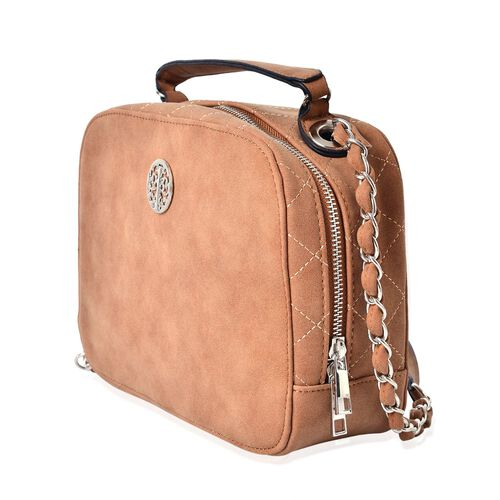 Tan Colour Crossbody Bag with Shoulder Strap (Size 23x17.5x8 Cm)