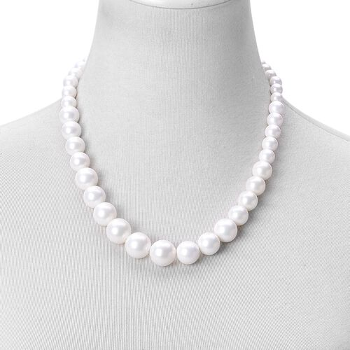 Super Auction - Graduated White Shell Pearl Necklace (Size 20) with Sterling Silver Magnetic Lock and Stretchable Bracelet (Size 7.5)