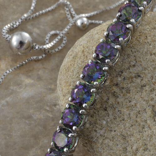 Northern Lights Mystic Topaz (Rnd) Adjustable Bracelet (Size 6.5 to 8.5) in Platinum Overlay Sterling Silver 4.750 Ct.
