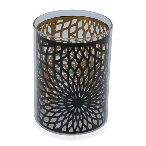 Home Decor - Black Colour Flower Pattern Glass Candle Holder