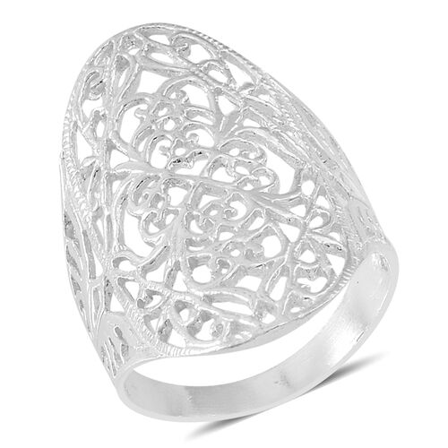 Thai Sterling Silver Filigree Ring, Silver wt 5.12 Gms.