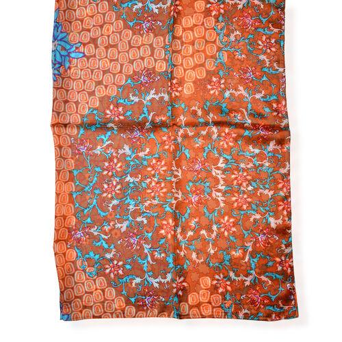 100% Mulberry Silk Brown, Orange and Multi Colour Scarf (Size 170x110 Cm)