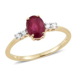 2 Carat African Ruby and Natural Cambodian Zircon Ring in 9K Gold