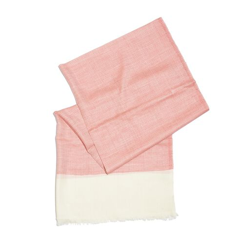 Mothers Day Special-100% Cashmere Wool Rapture Rose and Off White Colour Shawl with Fringes (Size 200X70 Cm)