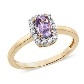 14K Y Gold AA Pink Tanzanite (Cush), Diamond (I2/G-H) Ring 0.750 Ct.