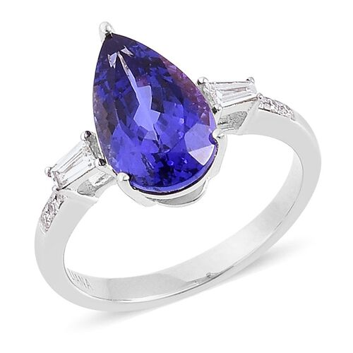 RHAPSODY 950 Platinum 3.25 Ct AAAA Tanzanite, Diamond VS E-F Ring