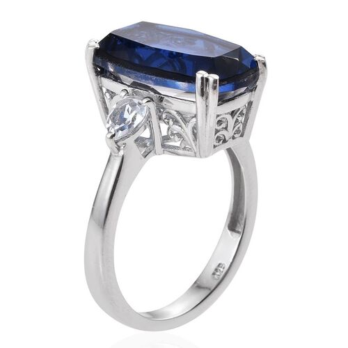 Ceylon Colour Quartz (Cush 8.50 Ct), White Topaz Ring in Platinum Overlay Sterling Silver 9.250 Ct.