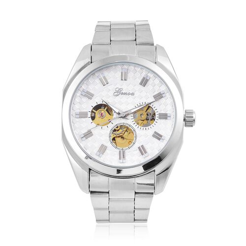 GENOA Automatic Skeleton White Dial Water Resistant Watch in Silver Tone with Glass Back and Chain Strap
