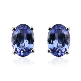AA Tanzanite Stud Earrings (with Push Back) in 9K White Gold  1 Carat