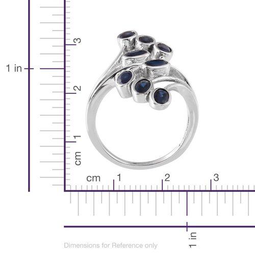 Kanchanaburi Blue Sapphire (Ovl) Crossover Ring in Platinum Overlay Sterling Silver 2.500 Ct.
