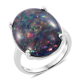 Exclusive Edition- Rare Size AAA Australian Boulder Opal (Ovl 25x18 mm) Ring in Platinum Overlay Sterling Silver 15.750 Ct.