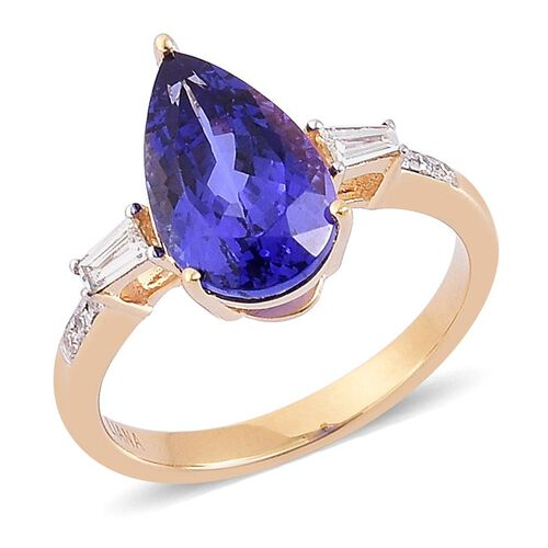 ILIANA 18K Yellow Gold AAA Tanzanite (Pear 3.75 Ct), Diamond Ring 4.000 Ct.