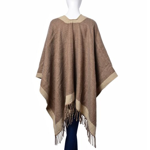 Chocolate and Coffee Colour Poncho with Tassels (Size 120x80 Cm)