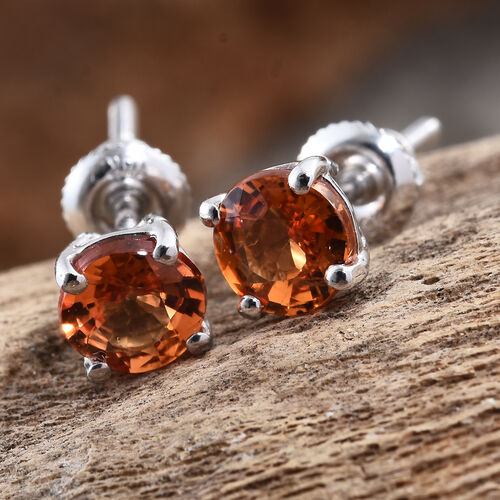 ILIANA 18K White Gold 1.15 Ct AAA Orange Sapphire Solitaire Stud Earrings (with Screw Back)