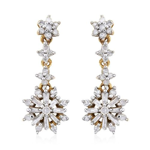 Diamond (Rnd) Dangle Earrings (with Push Back) in 14K Gold Overlay Sterling Silver 0.500 Ct.