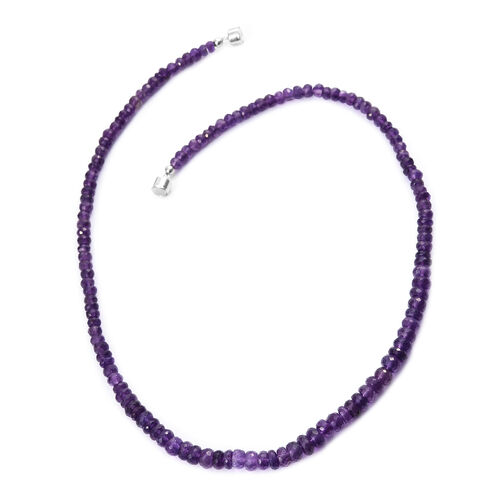 Amethyst Beads Necklace (Size 20) with Magnetic Clasp in Platinum Overlay Sterling Silver 150.000 Ct.