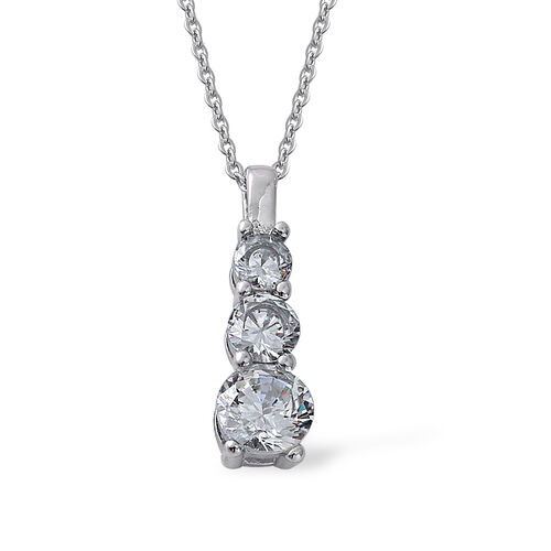AAA Simulated Diamond Ring and Pendant With Chain (Size 20) in Stainless Steel